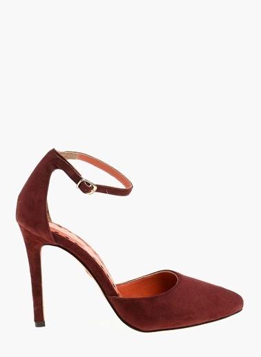 Divarese İnce Topuklu %100 Deri Ayakkabı Bordo
